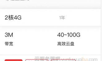 阿里云ECS共享型s6服务器2核4G3M带宽295.20元一年