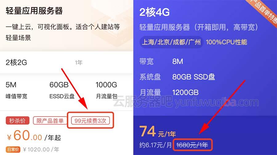 轻量应用服务器阿里云和腾讯云选择